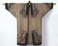Ainu. Woman's Robe, late 19th-early 20th century. Elm bark fiber cloth (attush) with appliqué and embroidery, 49 5/8 x 52 3/8 in. (126 x 133 cm). Brooklyn Museum, Gift of Herman Stutzer, 12.690. Creative Commons-BY (Photo: Brooklyn Museum, 12.690_SL1.jpg)