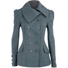 Grey nautical short coat ($78) ❤ liked on Polyvore featuring outerwear, coats, jackets, tops, coats & jackets, women's clothing, grey coat, grey double breasted coat, gray coat and dorothy perkins