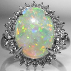 #Opal And #Diamond #Cluster #Ring In #Platinum €2,995 #Engagement #Jewelry #The #Antiques #Room #Galway #Ireland #Engagement #Jewelry #The #Antiques #Room #Galway #Ireland