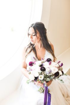 White and purple bridal bouquet with deep purple and lavender ribbon accents at Hawthorne House near Kansas City photographed by Sarah Rieth Photography Hawthorne House, Purple Accents, Deep Purple, Kansas City, Lavender, Reception, Ribbon, Bouquet, Bridal