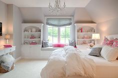 Kids Window Seat Reading Nook - Transitional - girl's room - Studio M Interiors