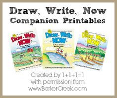Free Printables to go along with the Draw, Write Now books.  Created by www.1plus1plus1equals1.net with permission from www.barkercreek.com