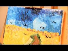 Sophia & Bella - 8-YEAR-OLD PAINTING VAN GOGH\'S WHEATFIELD WITH CROWS