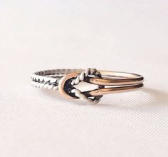 Double love knot ring, two toned ring, promise ring, infinity ring, celtic knot ring