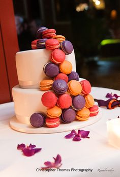 Brisbane Wedding Photographer purple, pink and orange wedding cake with macrons, Christopher Thomas Photography
