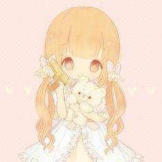 Inspiring image anime girl, bows, candy, chibi, cutie pie, gun, hearts, kawaii, love, pastel, teddy bear, ❤   by taraa , Resolution , Find the image to