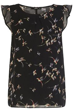 This pretty tee features a swallow bird print across the fabric. The piece features ruffled cap sleeves and a scoop neckline. The top is finished with a completely sheer reverse with gathering detail at the waist for a new season sillhouete.