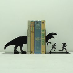 TRex Attack Metal Art Bookends  Free USA by KnobCreekMetalArts, $62.99