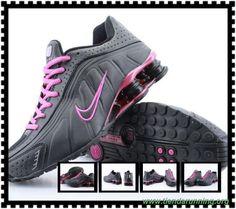 marcas de zapatos Nike Shox R4 Mujeres Negro Rosa Rojo Shox-0007