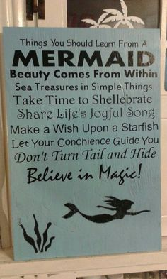 Mermaid Sign wood Sign Signs Beach Sign by BeaDazzledandBeyond
