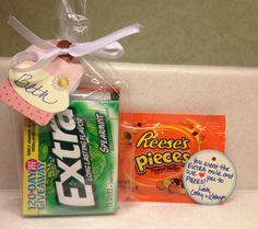 "Thank You Gift A perfect little gift to say ""thank you""....great for team or committee members. It is made with a pack of EXTRA gum and a package of REESE'S PIECES tied together with a tag reading, ""You went the EXTRA mile and we love you to PIECES!"""