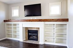 Craftsman Style Fireplaces With Bookcases | Craftsman style fireplace surround, bookshelves, wood ... | For the H ...