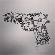 Girly gun tattoos | Tattoo ideas.. I like the shape of the gun... but maybe not too girly flowers?