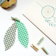 Handmade Feathers  Geometric Aqua & White Handmade by kaetoo