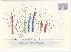 Birthday party on an envelope Fancy Envelopes, Mail Art Envelopes, Decorated Envelopes, Addressing Envelopes, Handmade Envelopes, Envelope Lettering, Calligraphy Envelope, Calligraphy Fonts, Script Fonts