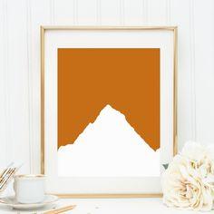Mountain Print, Mountain Wall Art, Fall Home Decor, Mountain Printable, Printable Wall Art, Fall Prints, Autumn Art, Orange Print on Etsy, $5.00