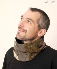 Grey Mens Cowl Scarf  Green brown and grey patchwork
