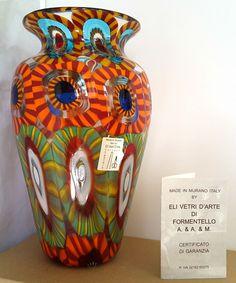 """MURANO~ITALY~ELI VETRI D'ARTE~FORMENTELLO~MURRINE~ART GLASS VASE~7.75""""H~SIGNED Lots more beautiful art glass available at: http://www.ebay.co.uk/usr/seraphimslair2"""