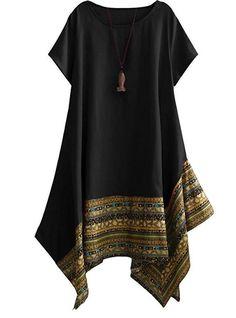 Women's Casual Ethnic Cotton Linen Short Sleeves Irregular Tunic Dress Sundress