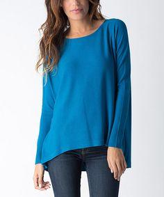 Look at this #zulilyfind! Turquoise Hi-Low Sweater by Yuka Paris #zulilyfinds