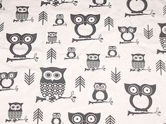 "Black & White HOOTIE OWLS Premier Print Fabric Home Decor,Crafts  57"" W x 1 YARD #PremierPrints"