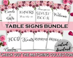 Table Signs Bridal Shower Table Signs Floral Bridal Shower Table Signs Bridal Shower Floral Table Signs Pink Purple party theme - BQ24C - Digital Product #bridalshower #bridetobe