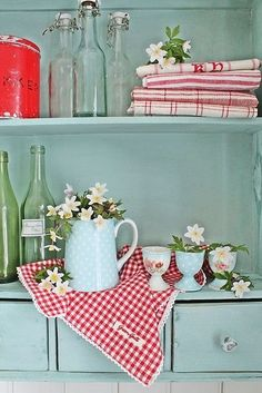 Colorful cottage shelves