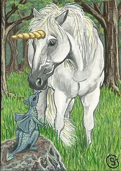 Unicorn & Baby Dragon - ACEO ART- Signed Print Watercolor Gouache - Fantasy