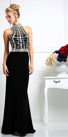 Prom Dresses Evening Dresses by Cinderella<BR>addCR107<BR>A-line silhouette halter dress with sequins, rhinestones and full length sweep train skirt.