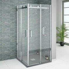 Small corner shower enclosure