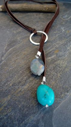 Leather Necklace Leather Turquoise lariat Sterling by IseaDesigns See related items on Fanatic Leather Store.