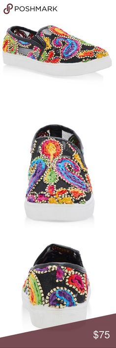 Embroidered Slip On Sneakers Sneaker Round Toe No Heel - Flat Embroidery  Content and Care Material: All Man-Made Material Shoes Sneakers
