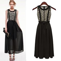 Black Contrast Embroidery Lace Maxi Dress