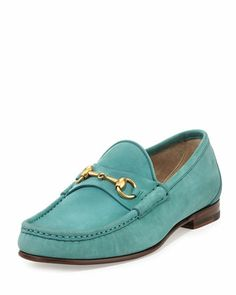 Gucci Roos Suede Horsebit Loafer, Turquoise