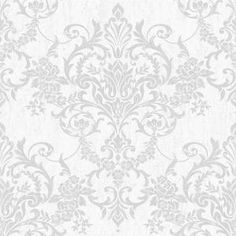 This beautiful Victorian damask wallpaper will add a stylish finishing touch to any room. The design features a distressed metallic damask on a matte, textured background for a contemporary feel. This high-quality vinyl wallpaper would look great whe
