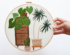 9 inch Modern Hand Stitched Plant Embroidery Hoop Art