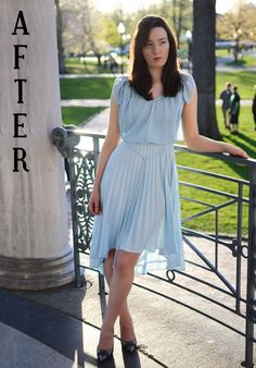 Refashion: Blue pleated gown to Summer Dress