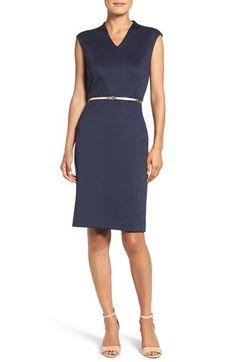 Ellen Tracy Belted Ponte Sheath Dress (Regular & Petite)