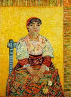 'イタリアの女性Agostina Segatori', オイル バイ Vincent Van Gogh (1853-1890, Netherlands)