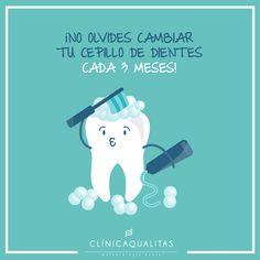 No olvides cambiar de cepillo de dientes cada 3 meses! #salud #saluddental #consejos