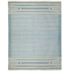 OKA Sanskrit Striped Cotton Dhurrie Rug, Large (for bedroom)