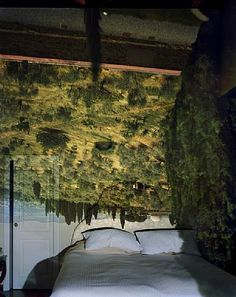 Abelardo Morell - Camera Obscura. This technique flips a landscape image and is reflected into a room scene. This shows Florence reflected in a bedroom interior.