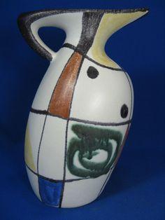 Rare 50´s Kurt Tschörner design Ruscha Keramik jug Krug Nr. 321 / 4  24 cm