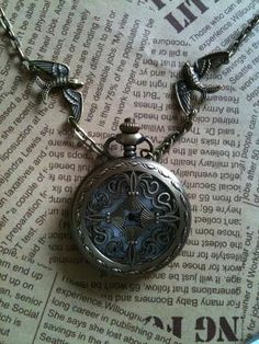 steampunk Pocket Watch necklace CROSS by Victorianstudio on Etsy