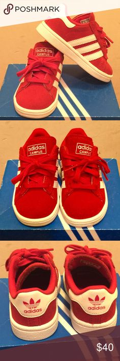 💥Adidas Sneakers for Toddler💥 These Sneakers are Hot!! Campus I Scarlet Red and White Adidas for Toddler -Size US 6.  Only worn once for a half a day- Like New! adidas Shoes Sneakers