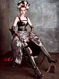 Guinevere Van Seenus by Daniele + Iango for Vogue Germany June 2014, Alexander McQueen (bustier) Tom Ford (boots)