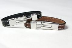 Unisex Men Women leather bracelet with hook clasp by ClassyLeather, $24.00