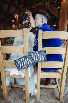 Mrs & Mrs chalkboard signs for same sex wedding