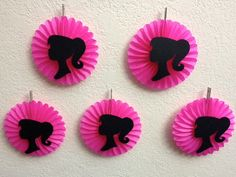 Barbie Birthday Party Decorations - 5 Pink Hanging Mini Fan Decorations