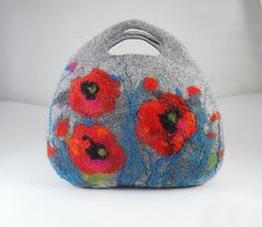 Felted Bag Poppy Poppies Handbag Purse wild Felt Nunofelt Nuno felt Silk Silkyfelted fairy fantasy shoulder bag Fiber Art boho